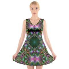 Digital Kaleidoscope V Neck Sleeveless Skater Dress