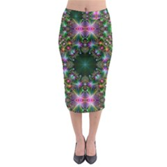 Digital Kaleidoscope Midi Pencil Skirt