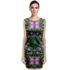 Digital Kaleidoscope Sleeveless Velvet Midi Dress