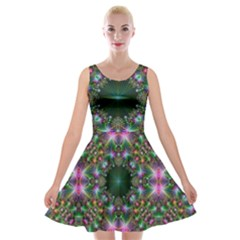 Digital Kaleidoscope Velvet Skater Dress