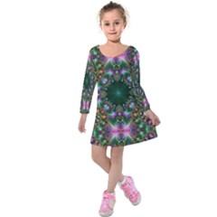 Digital Kaleidoscope Kids  Long Sleeve Velvet Dress