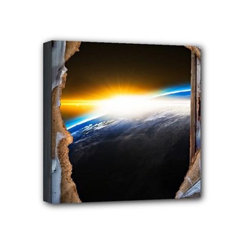 Door Breakthrough Door Sunburst Mini Canvas 4  X 4