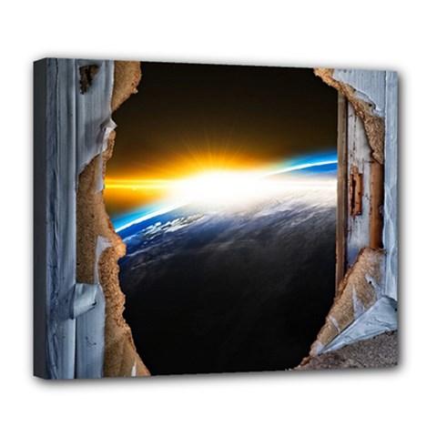 Door Breakthrough Door Sunburst Deluxe Canvas 24  X 20