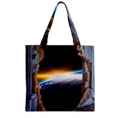 Door Breakthrough Door Sunburst Zipper Grocery Tote Bag