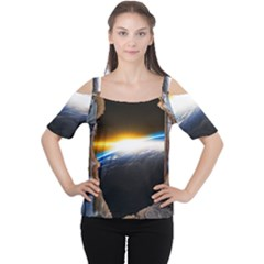 Door Breakthrough Door Sunburst Women s Cutout Shoulder Tee