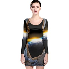 Door Breakthrough Door Sunburst Long Sleeve Velvet Bodycon Dress