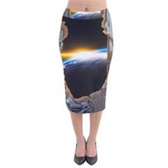 Door Breakthrough Door Sunburst Velvet Midi Pencil Skirt