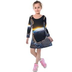 Door Breakthrough Door Sunburst Kids  Long Sleeve Velvet Dress
