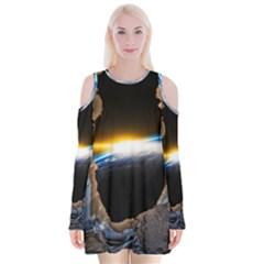Door Breakthrough Door Sunburst Velvet Long Sleeve Shoulder Cutout Dress
