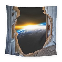 Door Breakthrough Door Sunburst Square Tapestry (large)