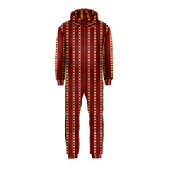Pattern Background Red Stripes Hooded Jumpsuit (kids)