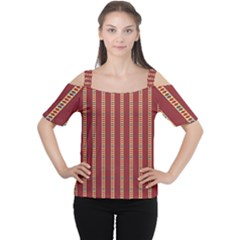 Pattern Background Red Stripes Women s Cutout Shoulder Tee