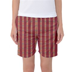 Pattern Background Red Stripes Women s Basketball Shorts