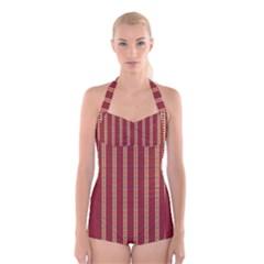 Pattern Background Red Stripes Boyleg Halter Swimsuit