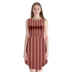 Pattern Background Red Stripes Sleeveless Chiffon Dress