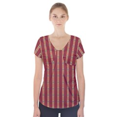 Pattern Background Red Stripes Short Sleeve Front Detail Top