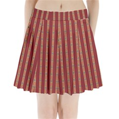 Pattern Background Red Stripes Pleated Mini Skirt