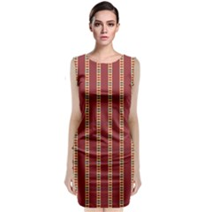 Pattern Background Red Stripes Sleeveless Velvet Midi Dress