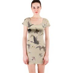 Vintage Old Fashioned Antique Short Sleeve Bodycon Dress