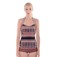 Stainless Structure Collection Boyleg Halter Swimsuit