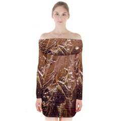 Ice Iced Structure Frozen Frost Long Sleeve Off Shoulder Dress