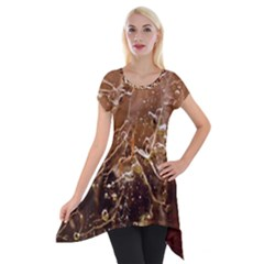 Ice Iced Structure Frozen Frost Short Sleeve Side Drop Tunic