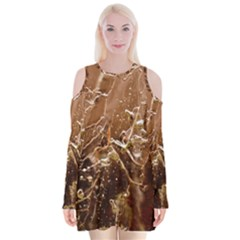 Ice Iced Structure Frozen Frost Velvet Long Sleeve Shoulder Cutout Dress
