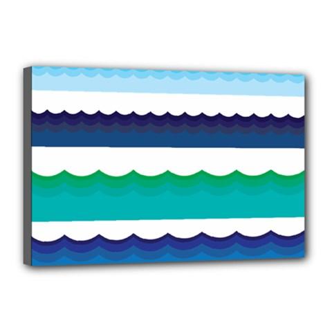 Water Border Water Waves Ocean Sea Canvas 18  X 12