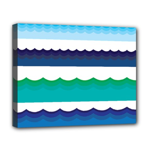 Water Border Water Waves Ocean Sea Deluxe Canvas 20  X 16