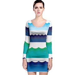 Water Border Water Waves Ocean Sea Long Sleeve Bodycon Dress