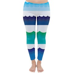 Water Border Water Waves Ocean Sea Classic Winter Leggings