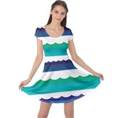 Water Border Water Waves Ocean Sea Cap Sleeve Dresses