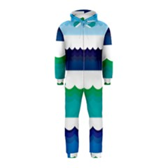 Water Border Water Waves Ocean Sea Hooded Jumpsuit (kids)