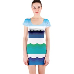 Water Border Water Waves Ocean Sea Short Sleeve Bodycon Dress