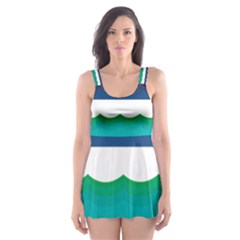 Water Border Water Waves Ocean Sea Skater Dress Swimsuit