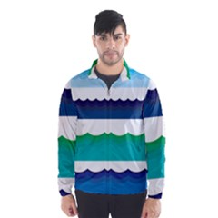 Water Border Water Waves Ocean Sea Wind Breaker (men)