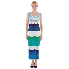 Water Border Water Waves Ocean Sea Fitted Maxi Dress
