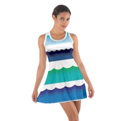Water Border Water Waves Ocean Sea Cotton Racerback Dress