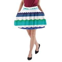 Water Border Water Waves Ocean Sea A Line Pocket Skirt