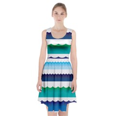 Water Border Water Waves Ocean Sea Racerback Midi Dress