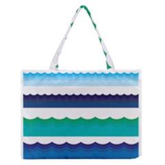 Water Border Water Waves Ocean Sea Medium Zipper Tote Bag