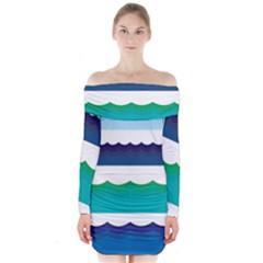Water Border Water Waves Ocean Sea Long Sleeve Off Shoulder Dress