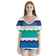 Water Border Water Waves Ocean Sea Flutter Sleeve Top