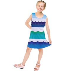 Water Border Water Waves Ocean Sea Kids  Tunic Dress