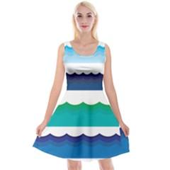 Water Border Water Waves Ocean Sea Reversible Velvet Sleeveless Dress