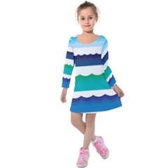 Water Border Water Waves Ocean Sea Kids  Long Sleeve Velvet Dress