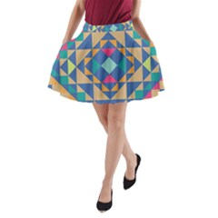 Tiling Pattern A Line Pocket Skirt