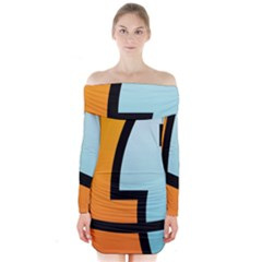 Two Fafe Orange Blue Long Sleeve Off Shoulder Dress