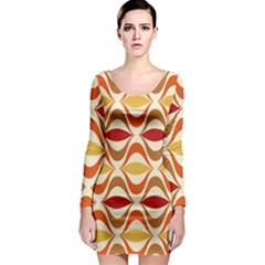 Wave Orange Red Yellow Rainbow Long Sleeve Bodycon Dress