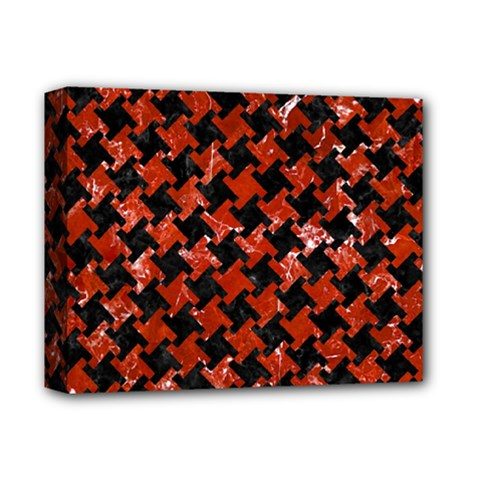 Houndstooth2 Black Marble & Red Marble Deluxe Canvas 14  X 11  (stretched)